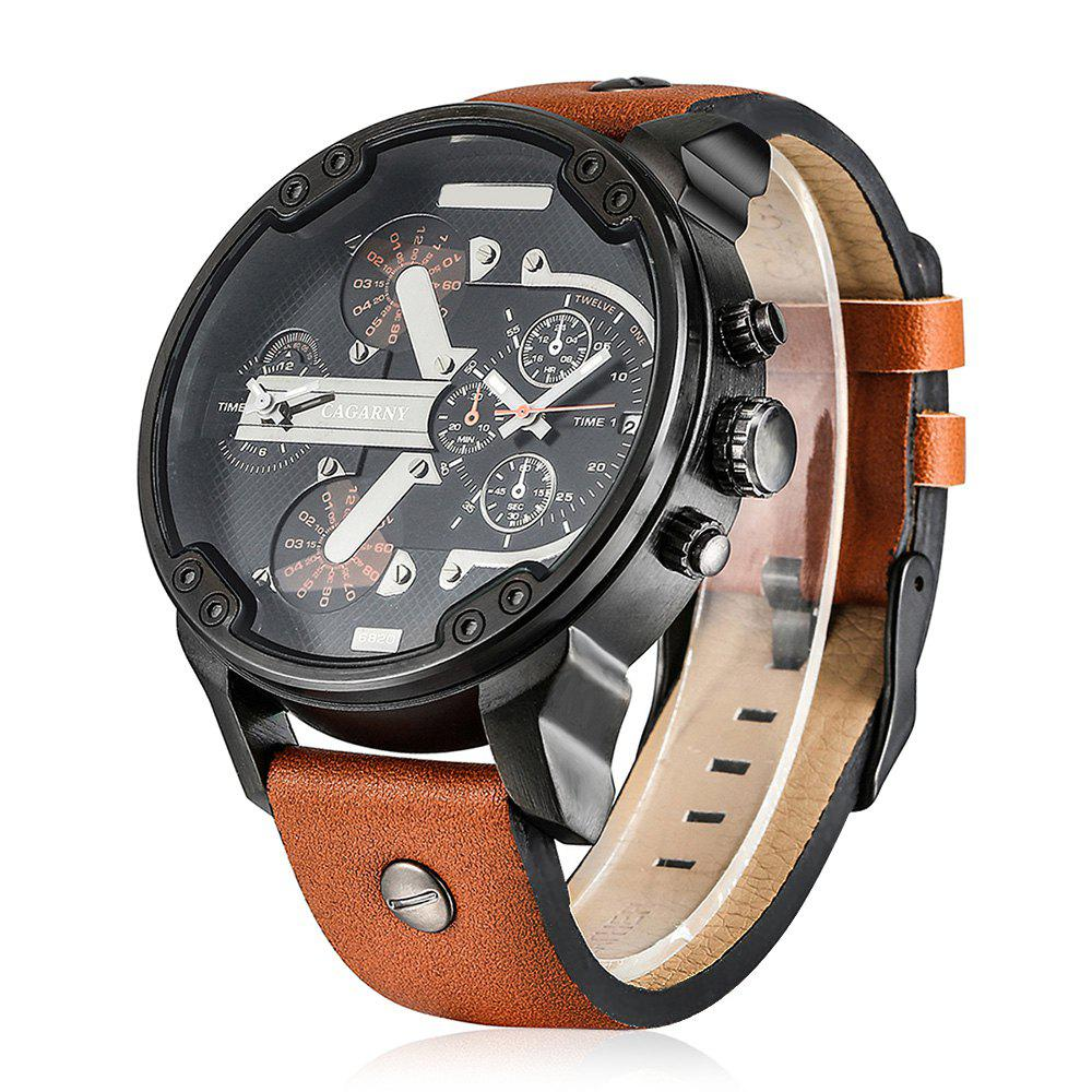 Cagarny 6820 Date Function Male Quartz Watch Double Movt Wristwatch with Decorative Sub-dials Leather Strap tvg 801 male double movt quartz digital watch
