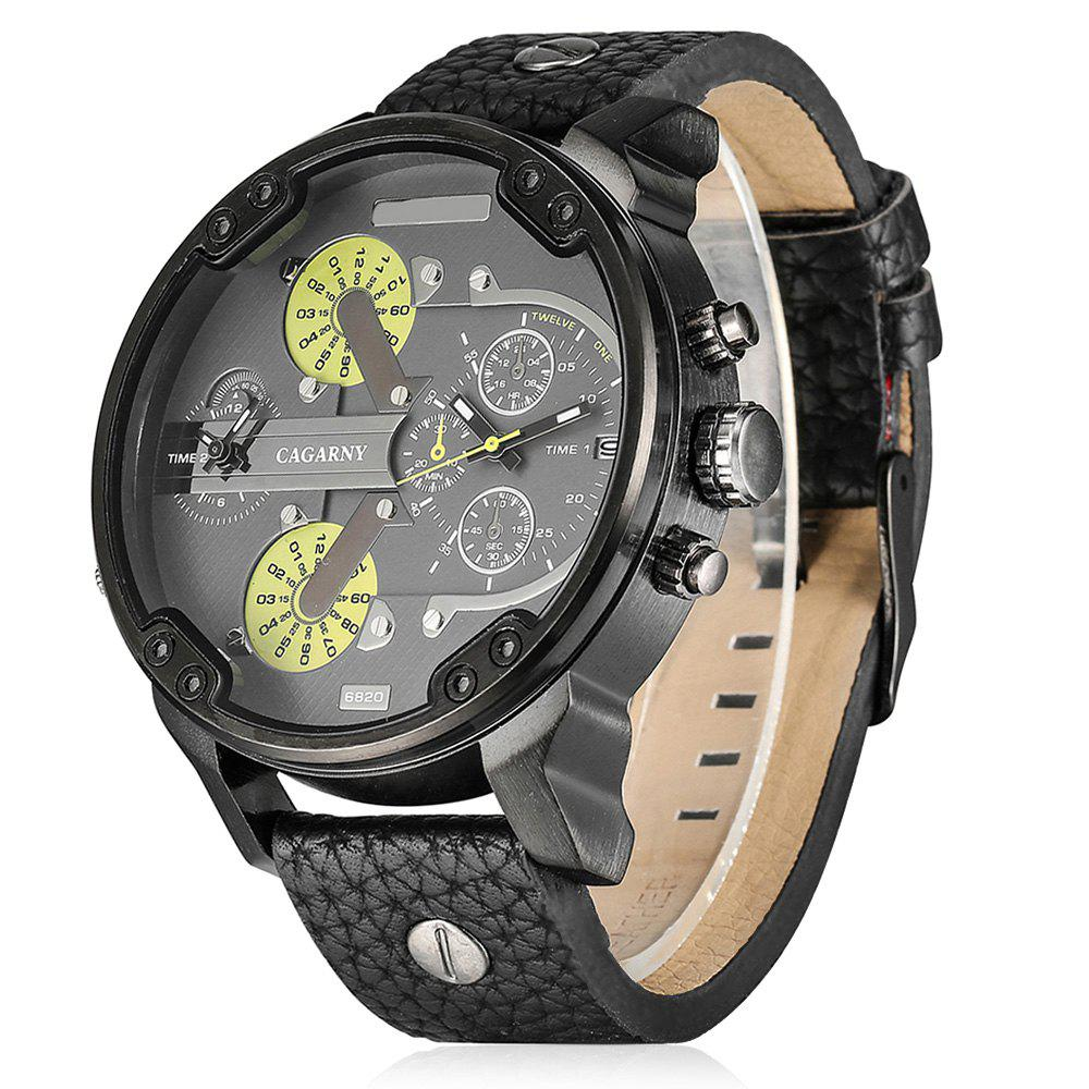 Cagarny 6820 Date Function Male Quartz Watch Double Movt Wristwatch with Decorative Sub-dials Leather Strap - BLACK