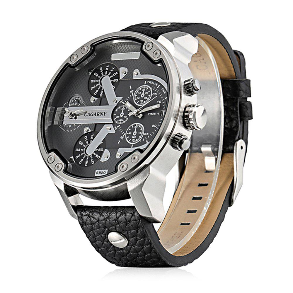 Cagarny 6820 Date Function Male Quartz Watch Double Movt Wristwatch with Decorative Sub-dials Leather Strap - SILVER / BLACK