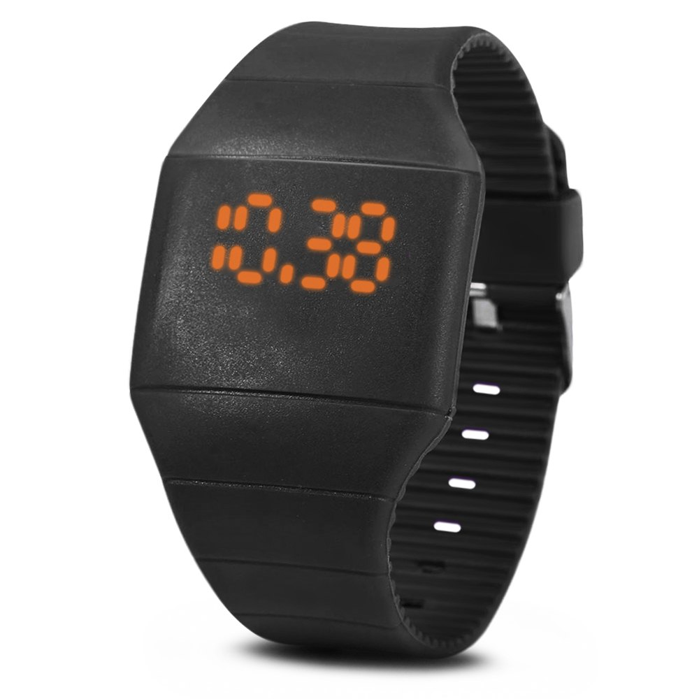 Rubber Touch Screen Sport Watches with Red Display Time Rectangle Shape - BLACK