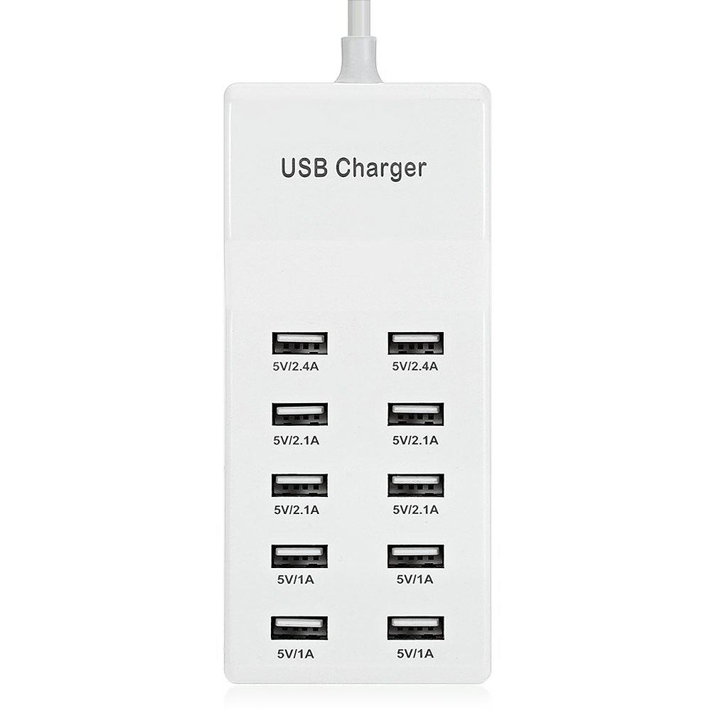 Ten USB Power Adapter Wall Charger Dock Station Fast Charging - WHITE EU PLUG