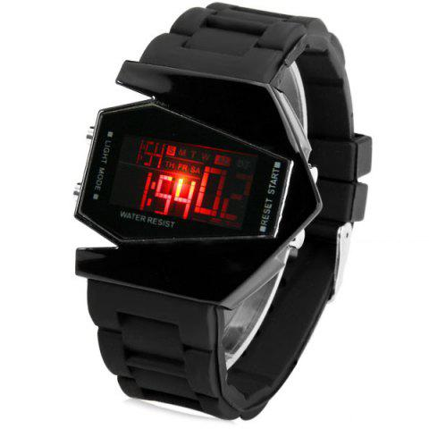 Sanda P028G Military Men Auto Digital Watch Rectangular Dial Sport Wrist Watch - BLACK