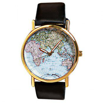 Map Patterned Watch with Round Dial and Leather Watch Band for Women