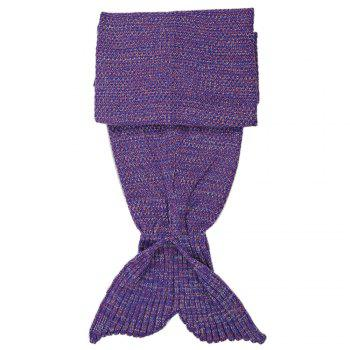 Crocheted / Knited Mermaid Tail Shape Blanket - LIGHT PURPLE LIGHT PURPLE
