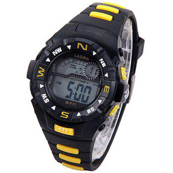 Water Resistant Men's Watch with Blue LED Number Hour Marks and Rubber Watchband - YELLOW YELLOW