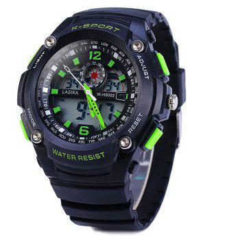 Lasika 9002 Dual Movt Sports Military LED Watch Alarm Date Day Stopwatch Water Resistance