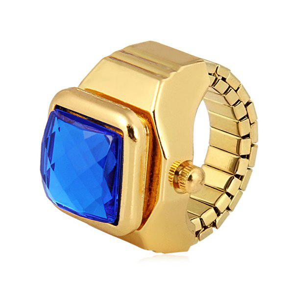 Fashion Flip Cover Finger Ring Watch with Gem Shape Analog Steel Watchband - GOLDEN