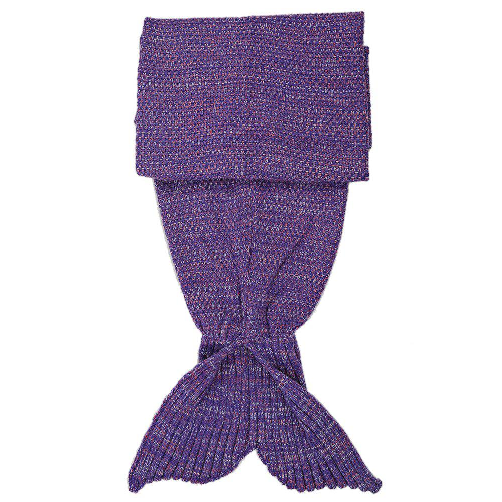 Crocheted / Knited Mermaid Tail Shape Blanket - LIGHT PURPLE