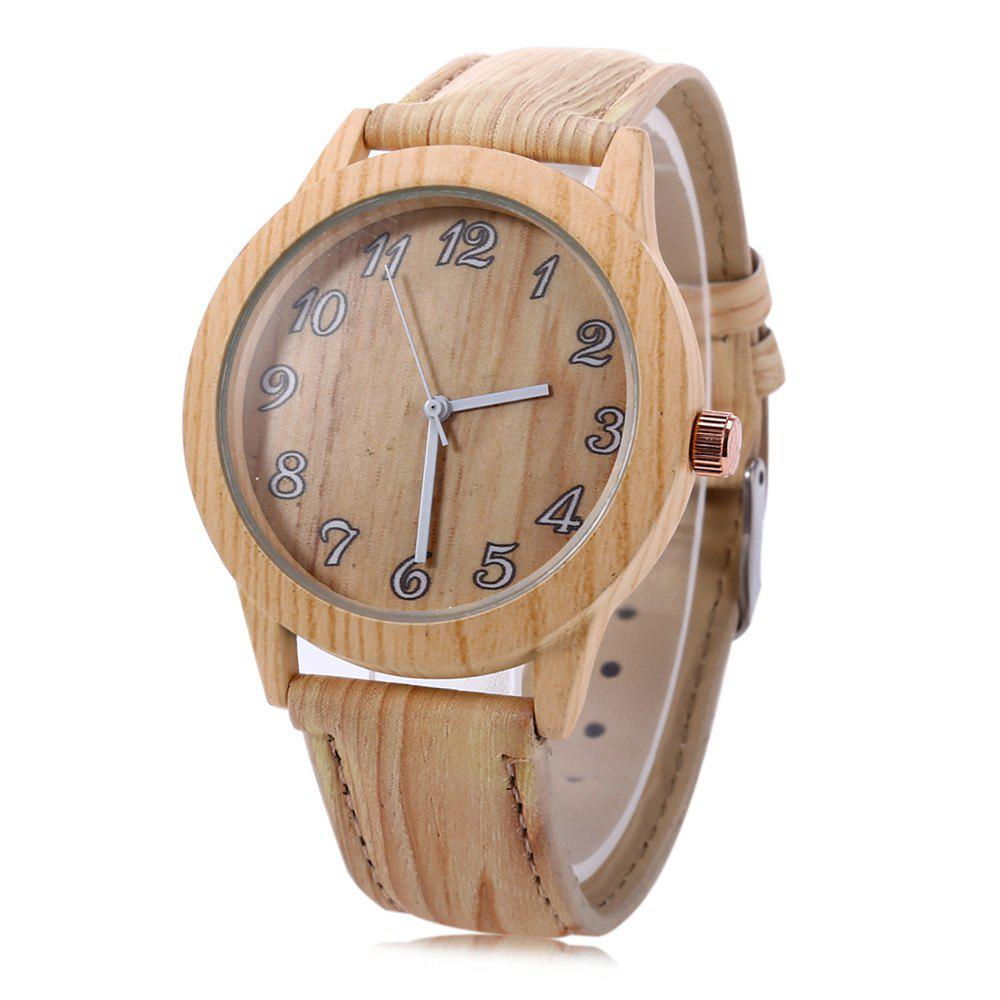 Geneva 150717-1 Wood-like Women Quartz Watch Leather Band Arabic Number Scales - DEEP BROWN