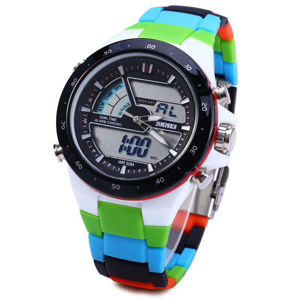 Skmei 1016 Water Resistance Sports LED Watch with Japan Double Movt Date Day Alarm Stopwatch Function Rubber Band skmei 1064 solar power army led watch date day alarm dual movt water resistant military wristwatch for sports