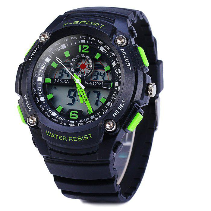 Lasika 9002 Dual Movt Sports Military LED Watch Alarm Date Day Stopwatch Water Resistance skmei 1064 solar power army led watch date day alarm dual movt water resistant military wristwatch for sports