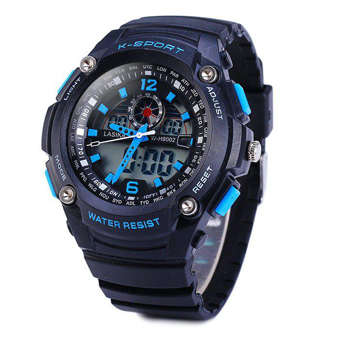Lasika 9002 Dual Movt Sports Military LED Watch Alarm Date Day Stopwatch Water Resistance predator
