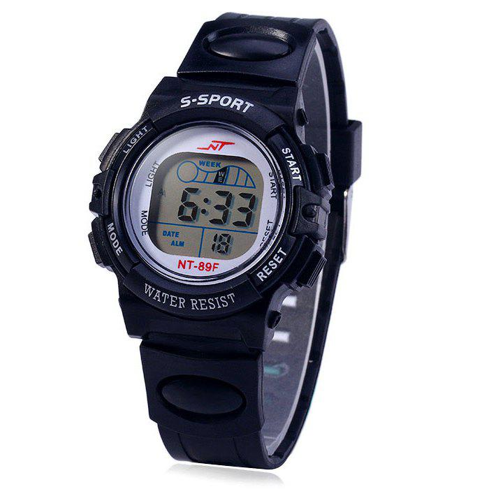 NT NT - 89F Flash Lights Sports LED Children Watch Day Date Alarm Stopwatch Rubber Strap Wristwatch - BLACK