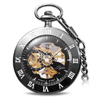 Jijia Hollow Out Mechanical Pocket Watch Chain Table