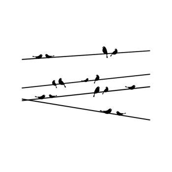 Personalized Telegraph Poles and Birds Style Removable Wall Stickers for Room Window Decoration