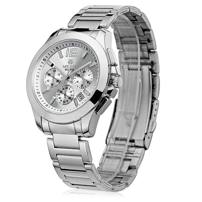 MEGIR 5006 Water Resistant Male Japan Quartz Watch with Stainless Steel Strap Working Sub-dials - SILVER