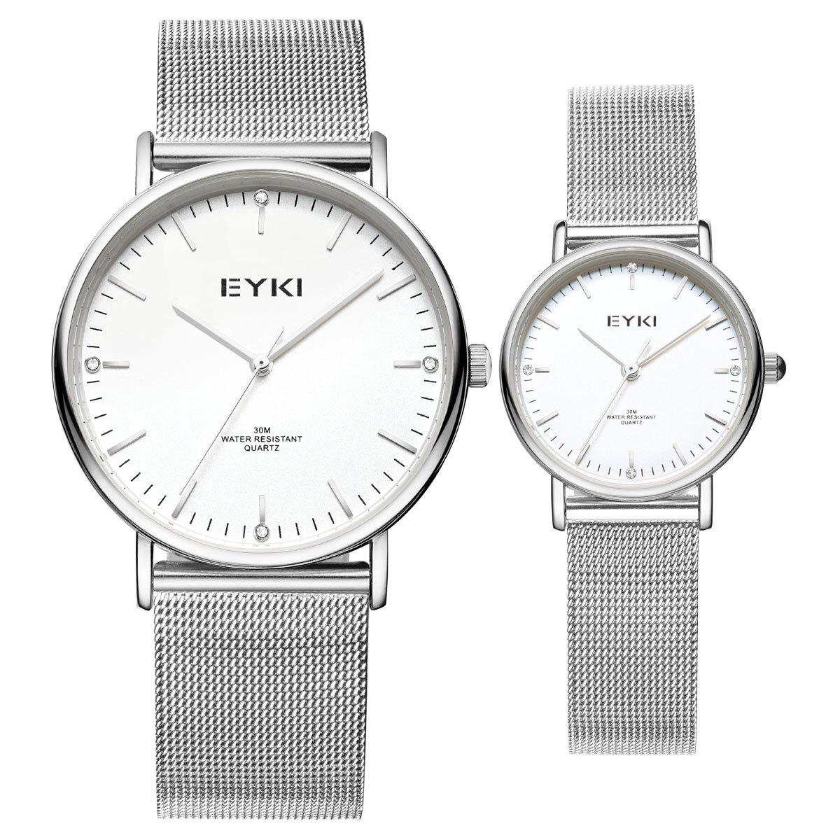 EYKI Casual Ultra-thin Dial Steel Strap Couple Watches with Japan Movement - WHITE