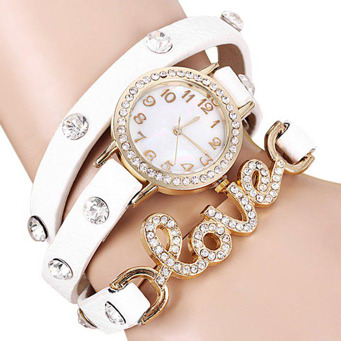 Quartz Wrist Watch Love Word Diamond Round Dial Leather Watchband for Women от Dresslily.com INT