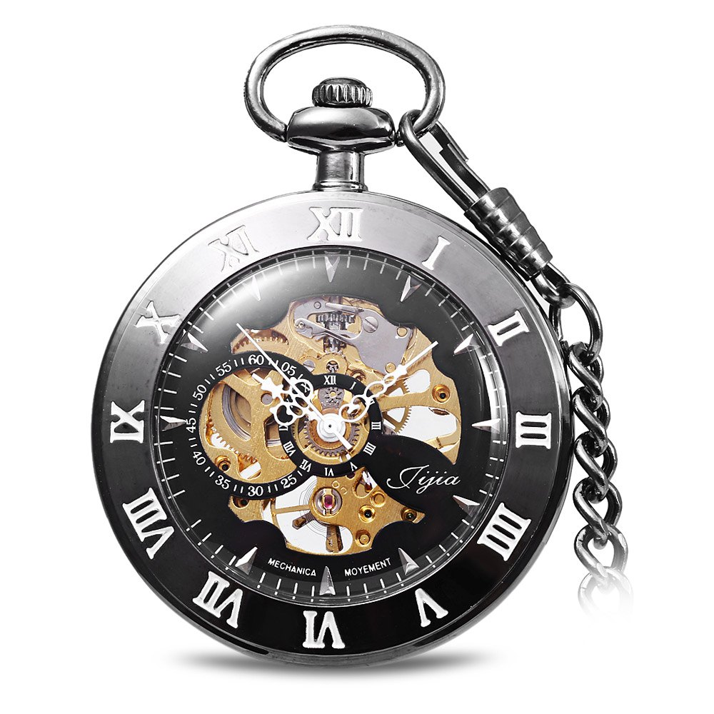 Jijia Hollow Out Mechanical Pocket Watch Chain Chain - Noir