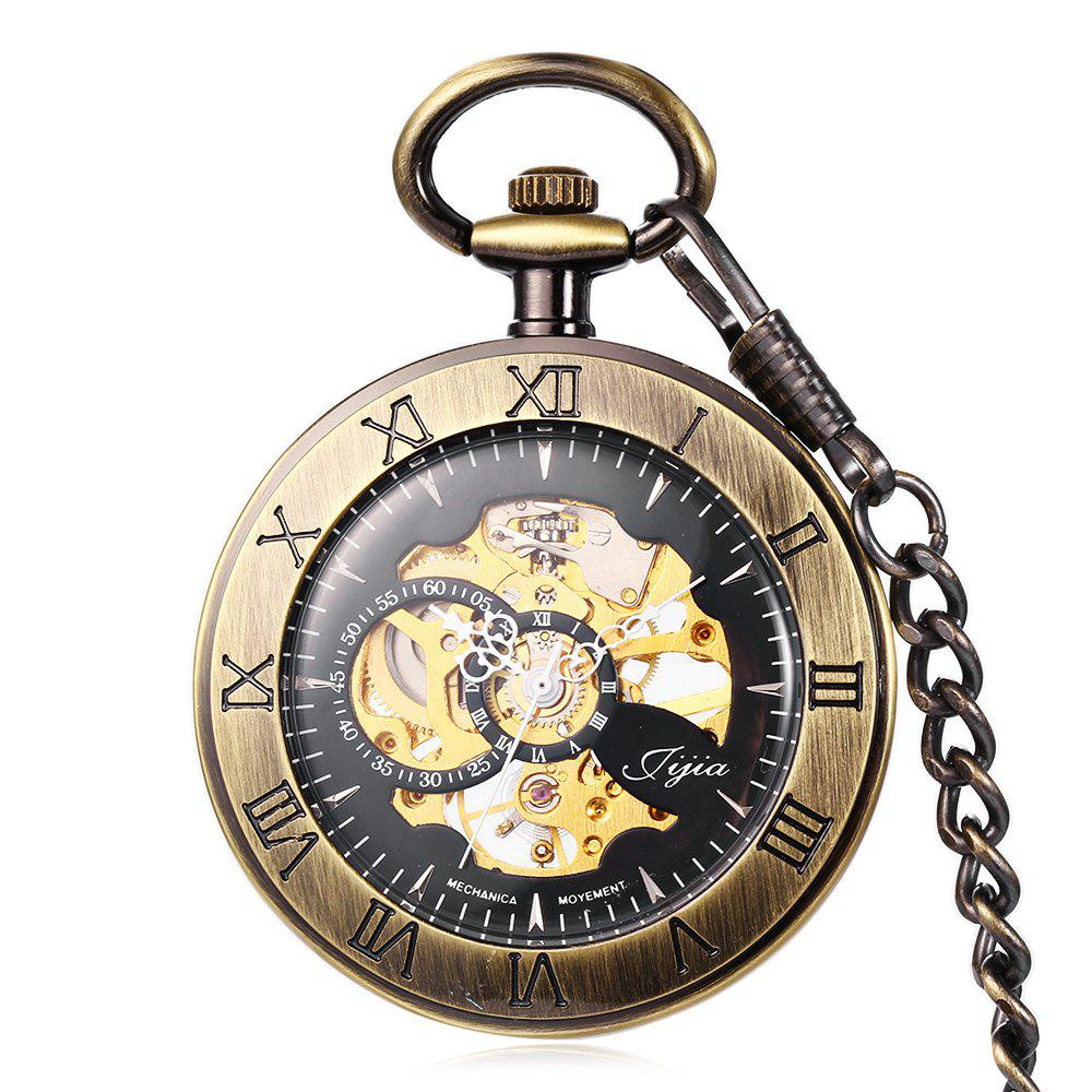 Jijia Hollow Out Mechanical Pocket Watch Chain Table - COPPER COLOR