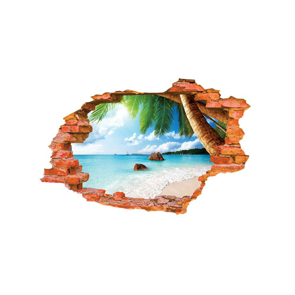 3D Beach Style Creative Wall Sticker Removable Wallpaper Water Resistant Home Art Decals 160896001