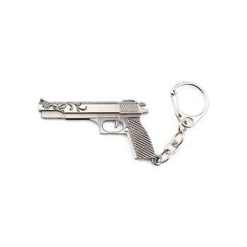 Key Chain Rifle Pistol Hanging Pendant Metal Keyring Online Military Game Toy for Bag Decoration - SILVER GRAY SILVER GRAY