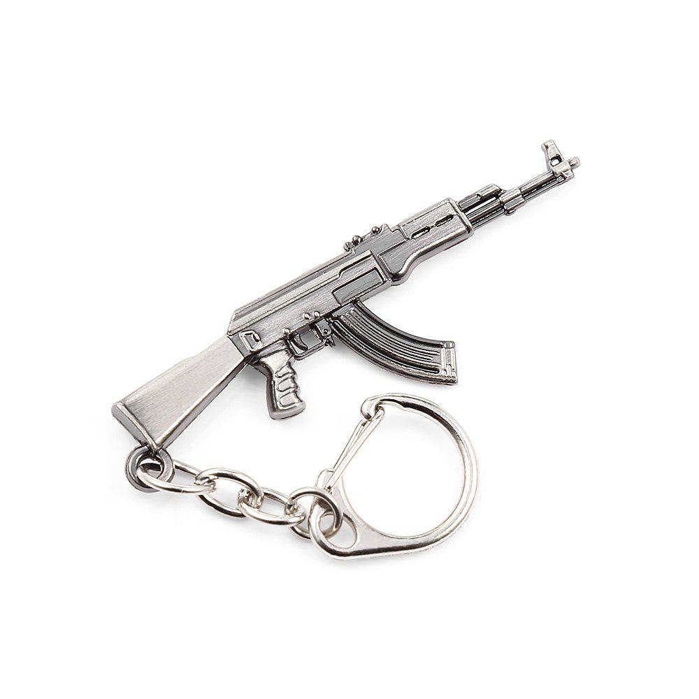 Key Chain Rifle Hanging Pendant Metal Keyring Online Military Game Toy for Bag Decoration - SILVER GRAY STYLE 1