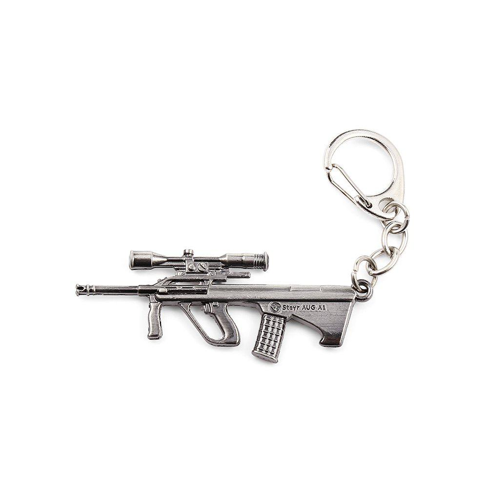 Key Chain Rifle Hanging Pendant Metal Keyring Online Military Game Toy for Bag Decoration - SILVER GRAY STYLE 2