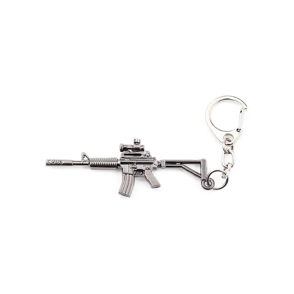 Key Chain Rifle Hanging Pendant Metal Keyring Online Military Game Toy for Bag Decoration - SILVER GRAY STYLE 6