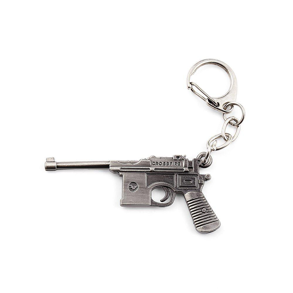 Key Chain 38 Rifle Pistol Hanging Pendant Metal Keyring Online Military Game Toy for Bag Decoration - SILVER GRAY STYLE 3