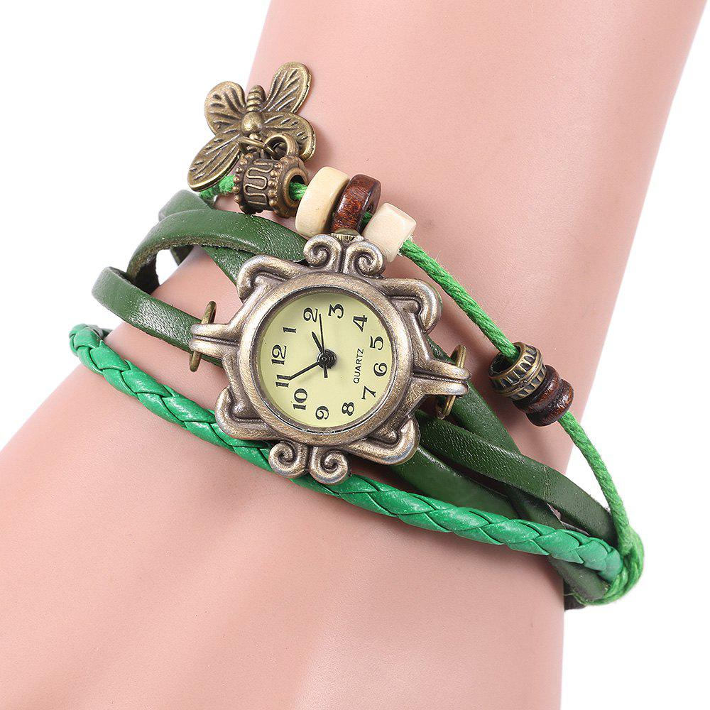 Retro Quartz Watch with Butterfly Round Dial and Knitting Leather Watch Band for Women - GREEN