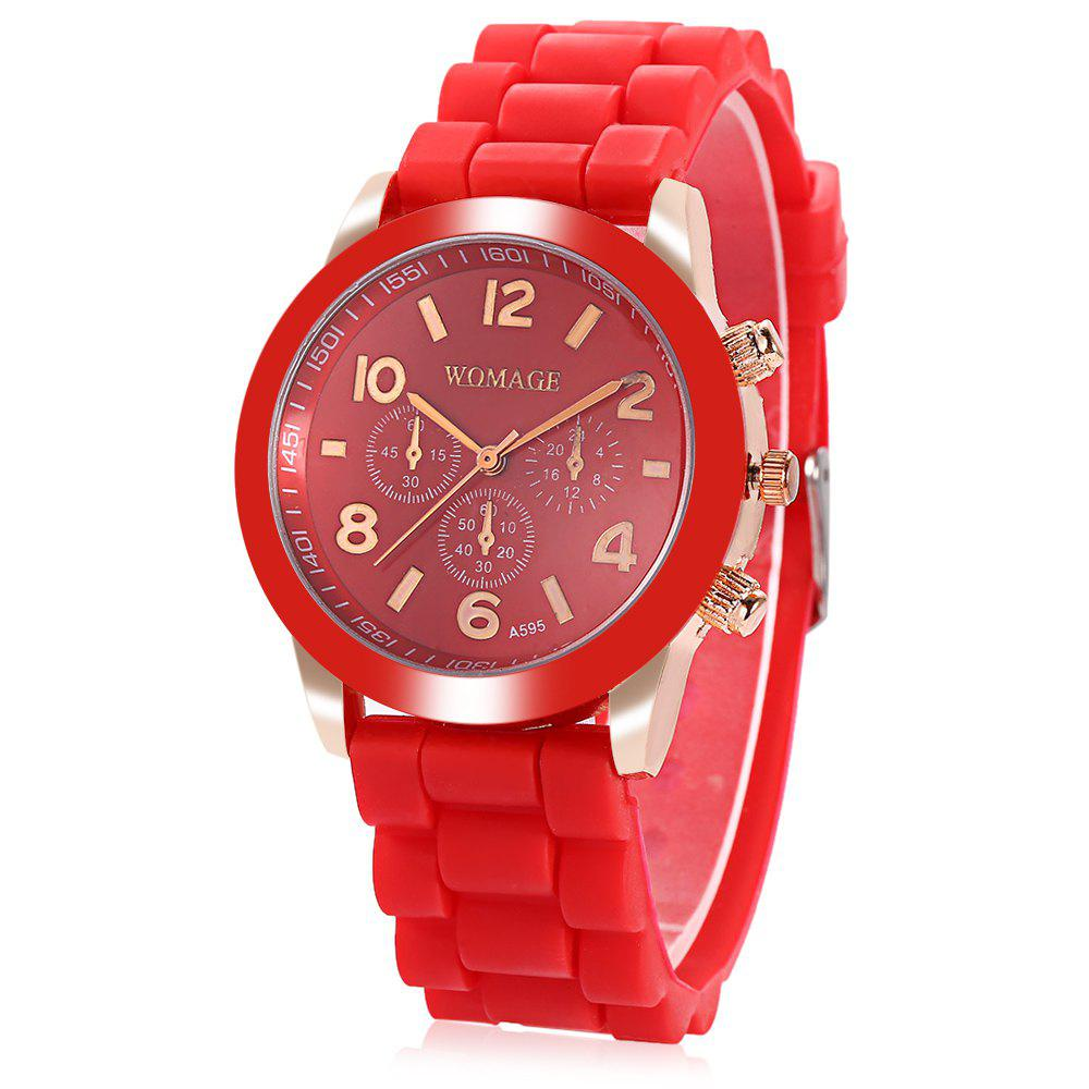 WoMaGe Quartz Watch 6 Numbers and Rectangles Indicate Rubber Watch Band for Women - Coffee - RED