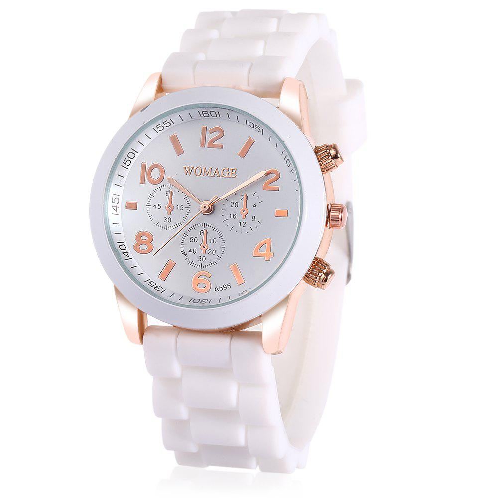 WoMaGe Quartz Watch 6 Numbers and Rectangles Indicate Rubber Watch Band for Women - Coffee - WHITE