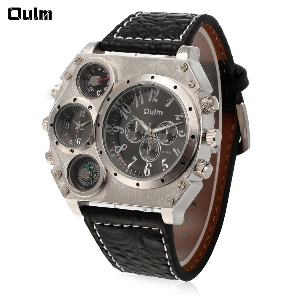 Oulm Quartz Watch with Two Time Square White Dial Black Leather Watchband for Men - BLACK