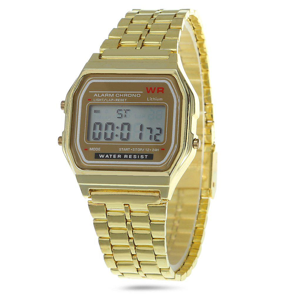 Multifunctional Digital Men Watch with Stainless Steel Strap - GOLDEN