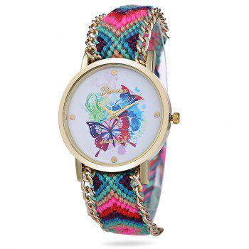 Geneva Butterfly Face Women Quartz Watch with Golden Case