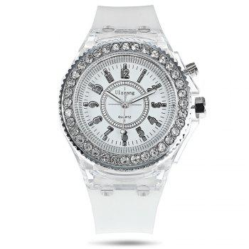 Cool Flash Light Jelly Diamond Men Quartz Watch with Silicone Strap - WHITE