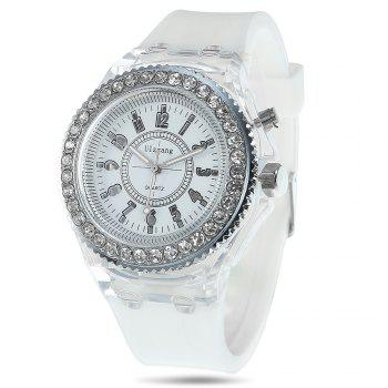 Cool Flash Light Jelly Diamond Men Quartz Watch with Silicone Strap