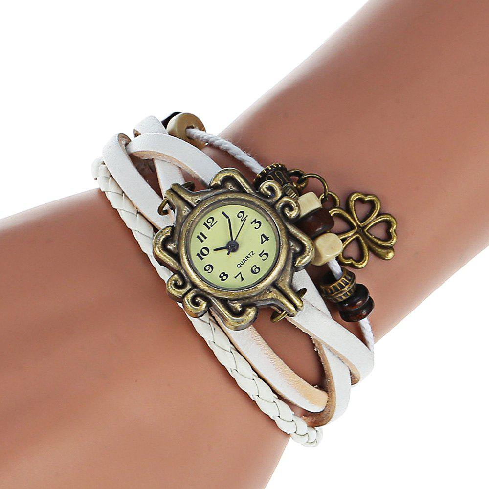 Stylish Quartz Watch with Four-leaf Clover Pendant Round Dial and Knitting Leather Watch Band for Women - WHITE