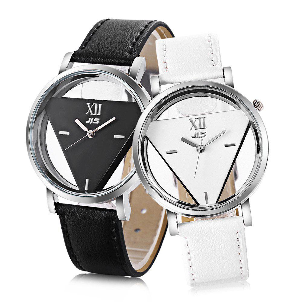 JIS Transparent Dial Triangle Pattern Quartz Watch for Couple - WHITE/BLACK