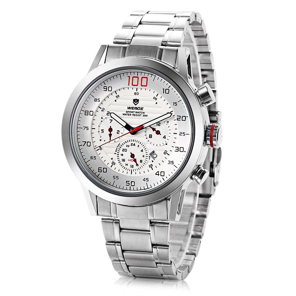 Weide wh3311 Men Water Resistance Date Function Japan Quartz Watch with Stainless Steel Band - WHITE