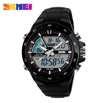 Skmei 1016 Water Resistance  LED Watch with Double Movt Day Date Function - BLACK BLACK