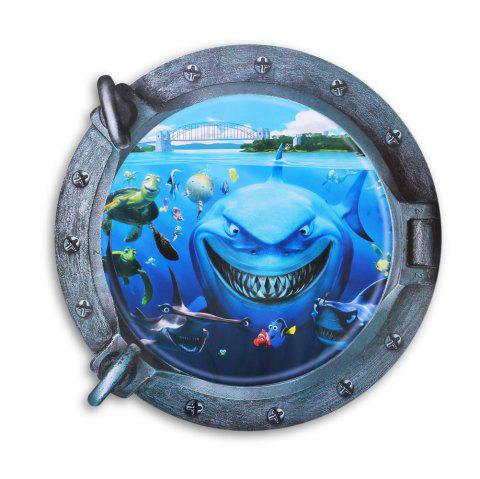3D Underwater World and Shark Style Removable PVC Wall Stickers Colorful Room Window Decoration - BLUE
