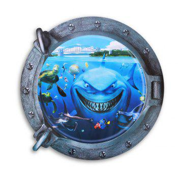 3D Underwater World and Shark Style Removable PVC Wall Stickers Colorful Room Window Decoration