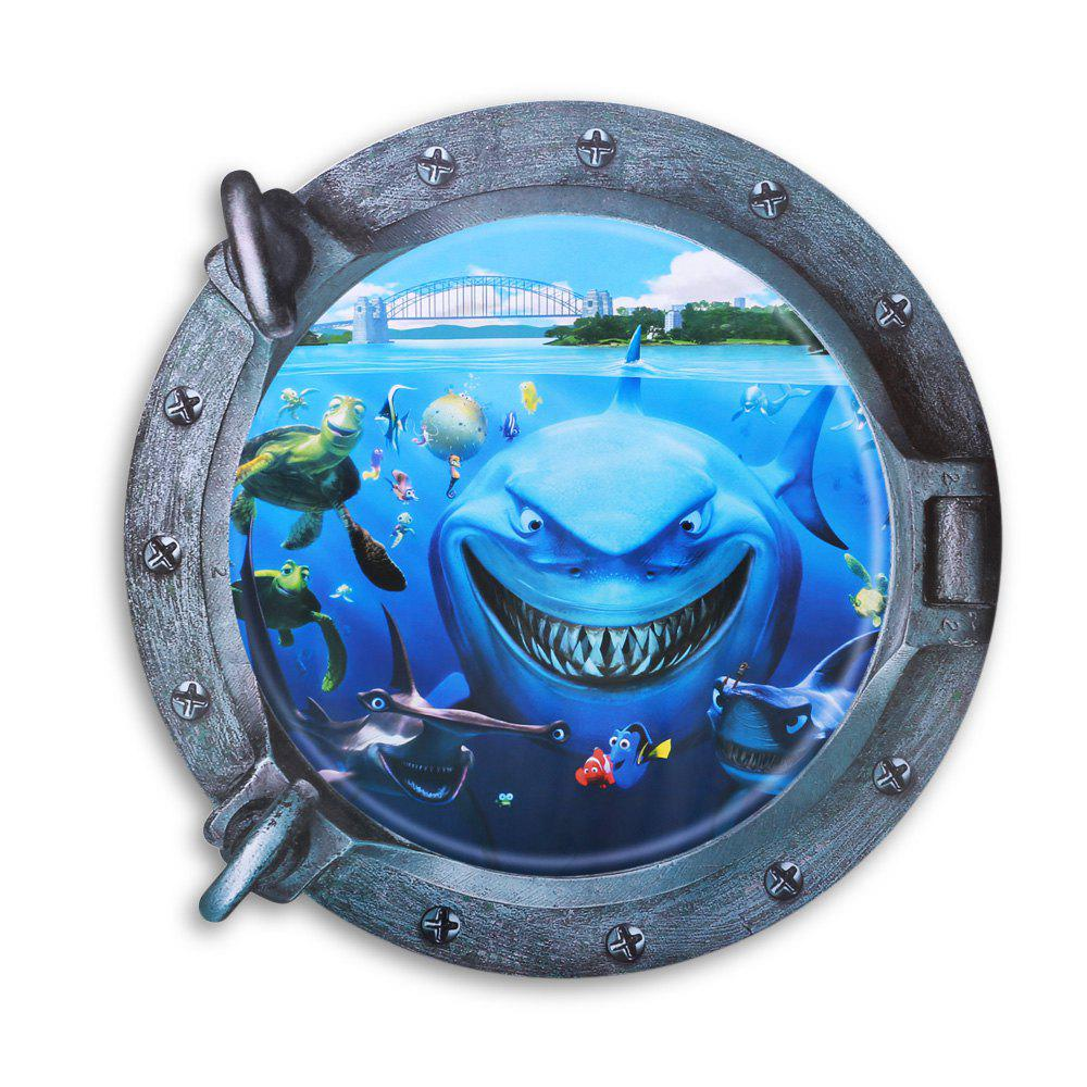 3D Underwater World and Shark Style Removable PVC Wall Stickers Colorful Room Window Decoration 3d horse rushing window living room decoration wall stickers
