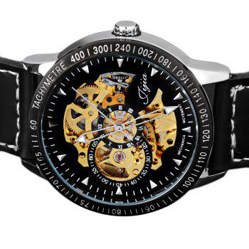 Jijia 8010 Men Mechanical Watch Self-winding Hollow-out Round Dial Leather Wristband - BLACK