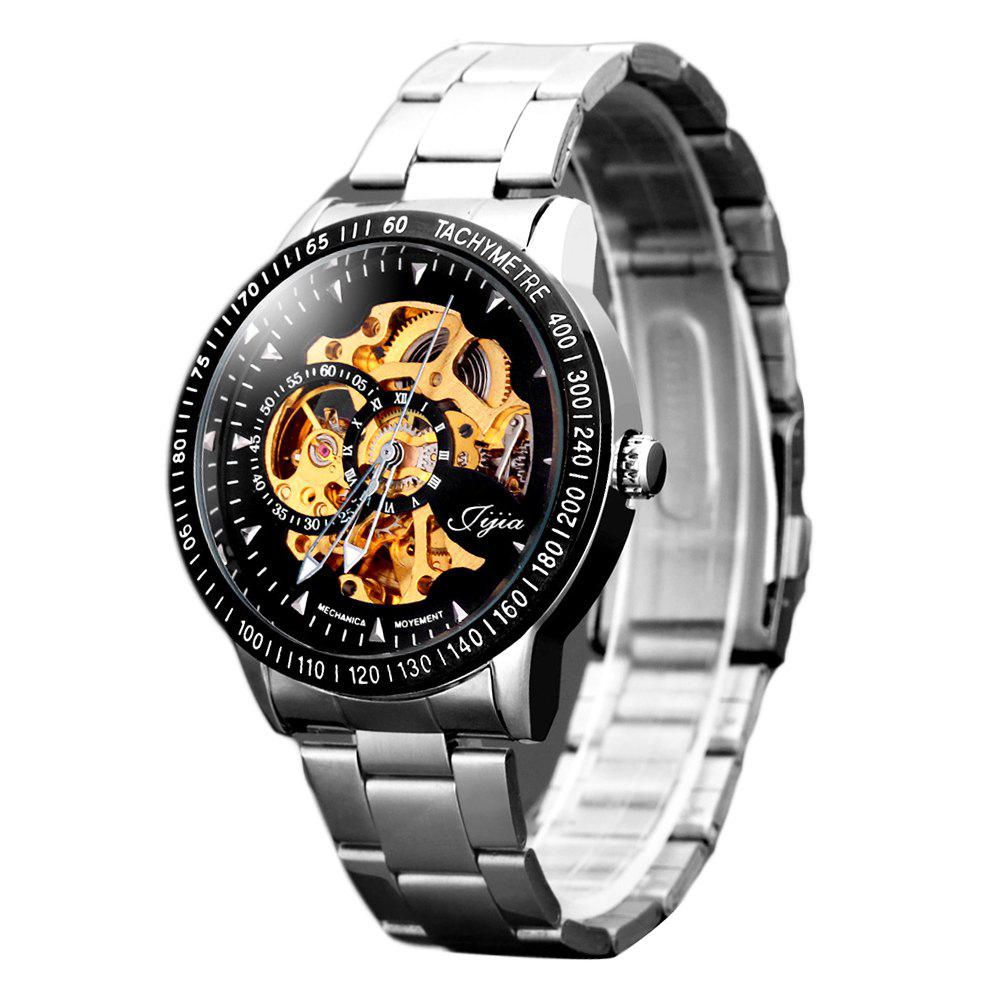 Jijia 8010 Hollow-out Automatic Mechanical Watch Round Dial Stainless Steel Band for Men - BLACK