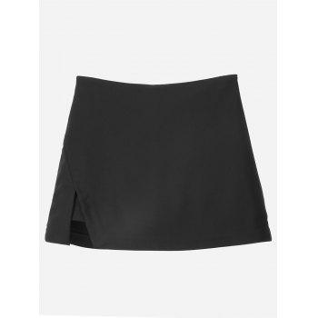 Women Shorts Pantskirt - BLACK BLACK