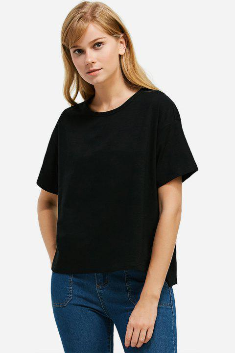 Box Cut Side Slit T-shirt - BLACK S