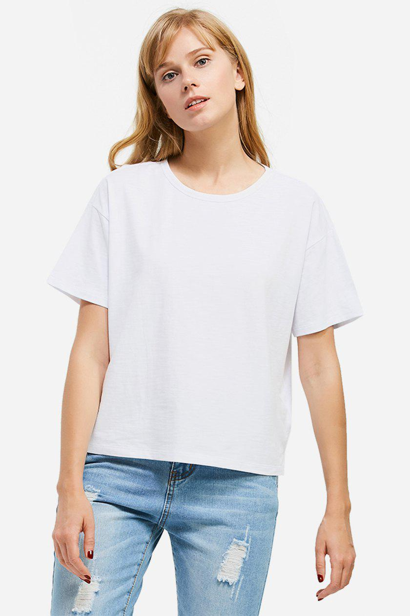 ZAN.STYLE Box Cut Side Slit T-shirt - WHITE M